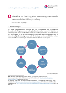 Checkliste Datenmanagementplan Empirische Bildungsforschung (PDF-Version zum Download)